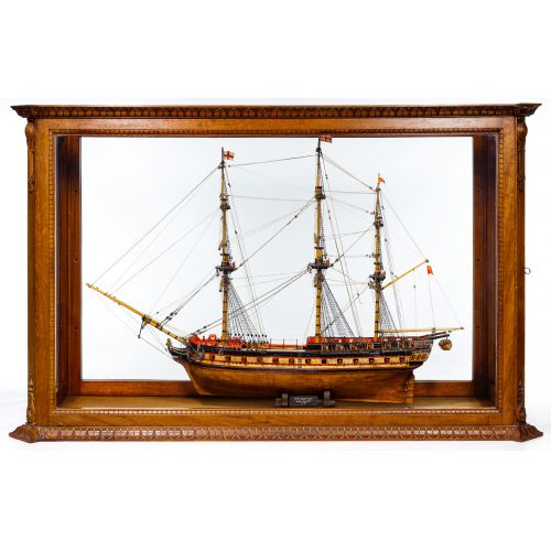 Wooden Ship Model in Display Case