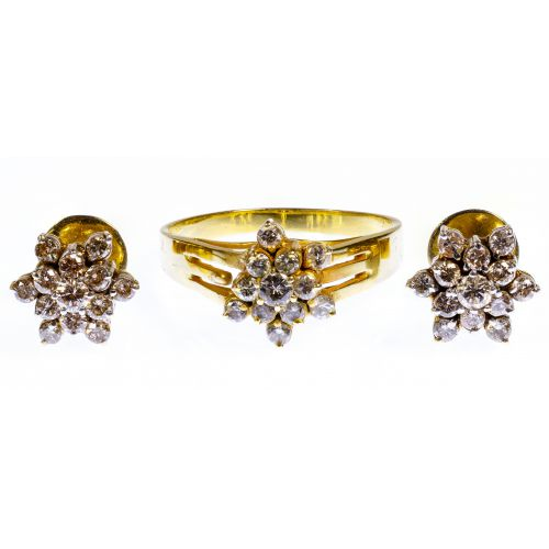 14k Gold and Diamond Ring and Earring Set