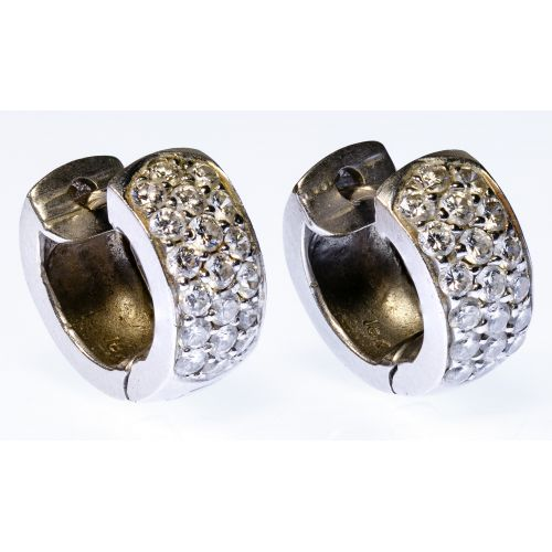 18k White Gold and Diamond Pierced Earrings