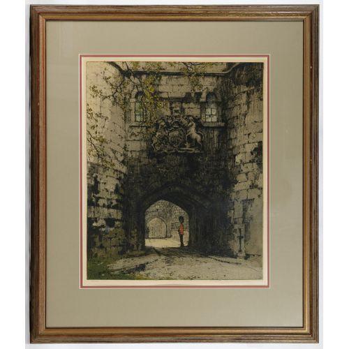 "Luigi Kasimir (American / Austrian, 1881-1962) ""Tower London"" Etching"