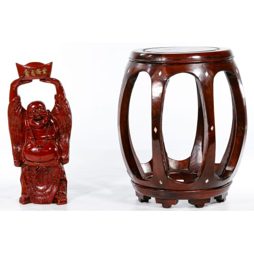 Rosewood Stained Table and Happy Buddha Statue