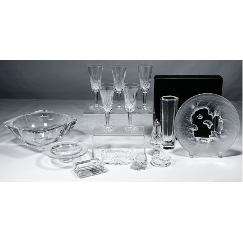 Waterford, Baccarat, Lalique and Hoya Crystal Assortment