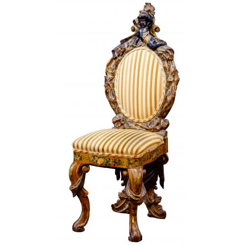 Carved and Polychromed Wood Chair