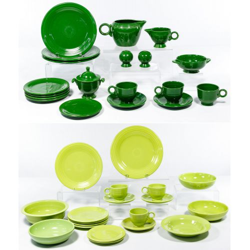 "Homer Laughlin Fiestaware ""Forest Green"" and ""Chartreuse"" Assortment"
