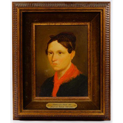 """(Attributed to) Josef von Fuhrich (European, 1800-1876) """"Portrait of a Bride"""" Oil on Board"""