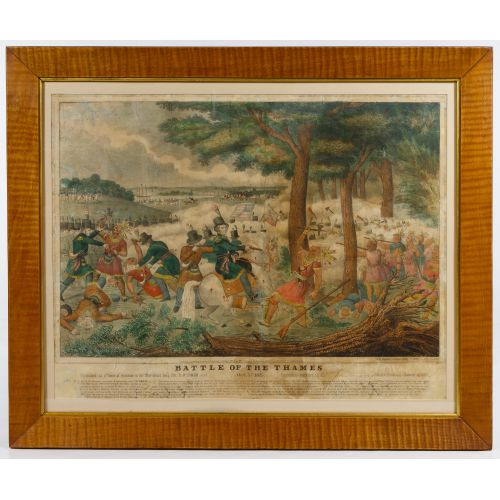 "William Emmons ""The Battle of the Thames"" Hand Colored Lithographic Broadside"
