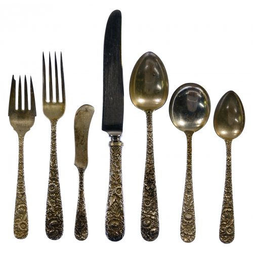 """S Kirk & Son """"Repousse"""" Sterling Silver Flatware"""