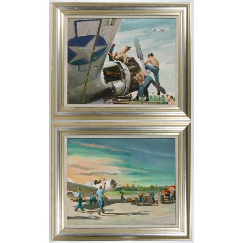 World War II US Naval Aviation Acrylic on Canvas Board Paintings