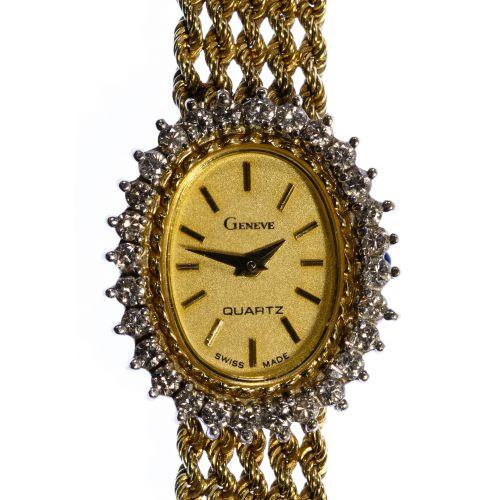 Geneve 14k Gold and Diamond Wrist Watch