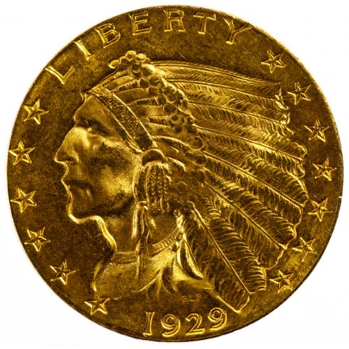 1929 $2 1/2 Gold Indian