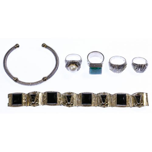 Gold and Sterling Silver Ring and Bracelet Assortment
