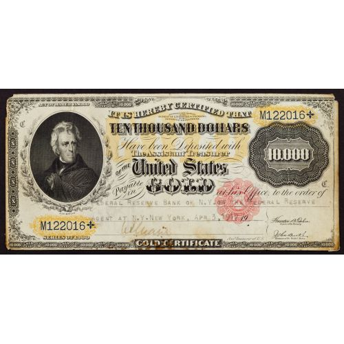 1900 $10,000 Gold Certificate Federal Reserve Note VF Details