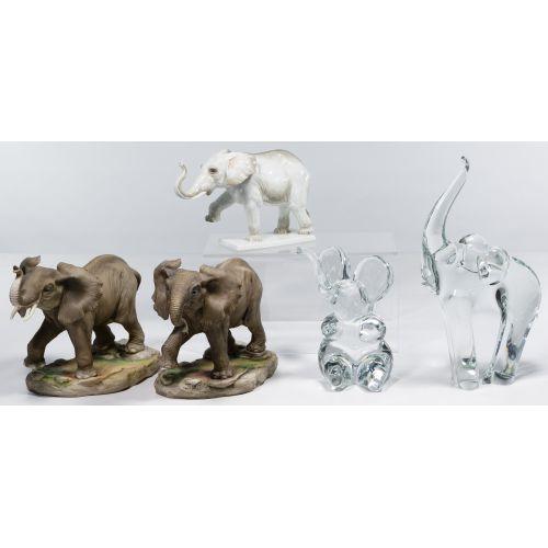 Porcelain and Glass Elephant Figurine Assortment
