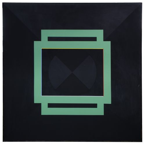 """John K Cannon (American, b.1942) """"Green Composition on Two Blacks"""" Oil on Canvas"""