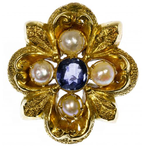 18k Gold, Pearl and Sapphire Brooch
