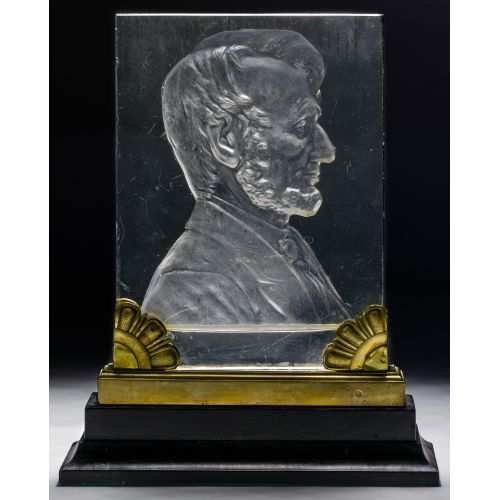 "(Attributed to) Steuben ""Abraham Lincoln"" Glass Plaque"