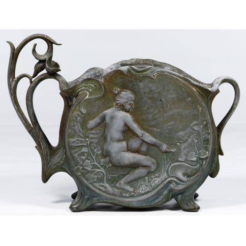 Jean Garnier (French, 19th Century) Cast Metal Art Nouveau Vase