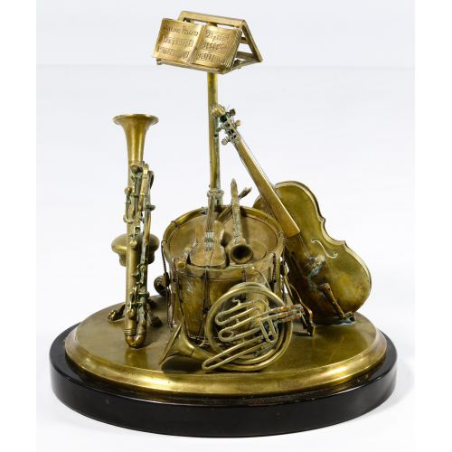 Musical Instrument Bronze Ink Well