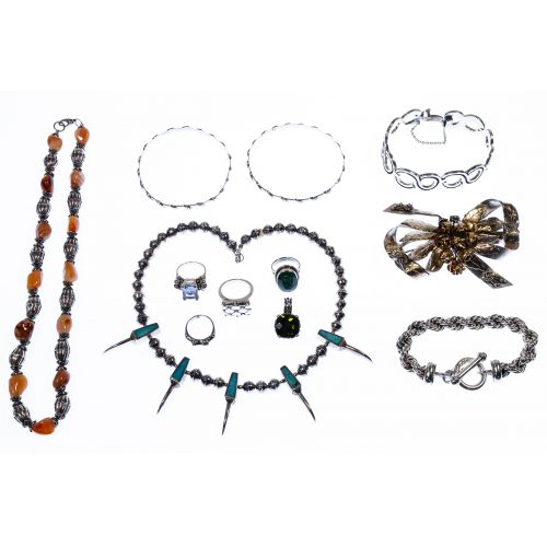 Sterling Silver and European Silver (800) Jewelry Assortment