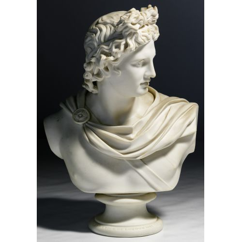 """(After) C Delpech (French, 19th Century) """"Apollo"""" Parian Bust"""
