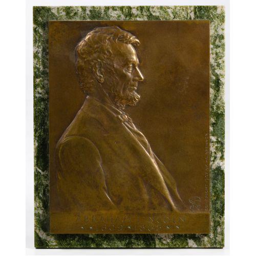 "Victor David Brenner (American, 1871-1924) ""Abraham Lincoln"" Bronze Plaque"