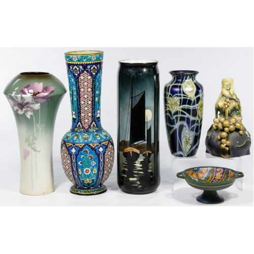 Pottery and Art Glass Vase and Bowl Assortment