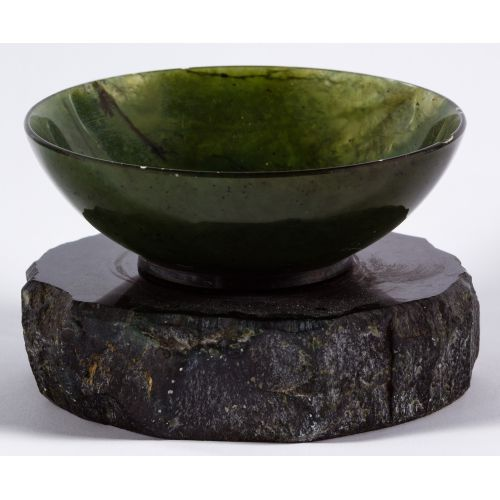Asian Style Jadeite Jade Bowl on Stand
