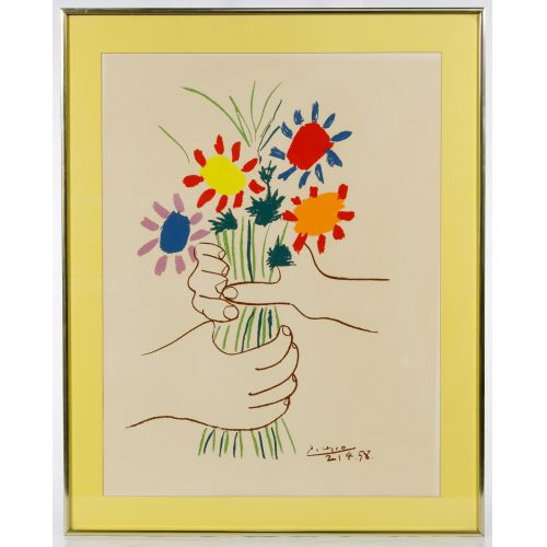 "Pablo Picasso (Spanish, 1881-1973) ""Bouquet of Flowers"" Print"