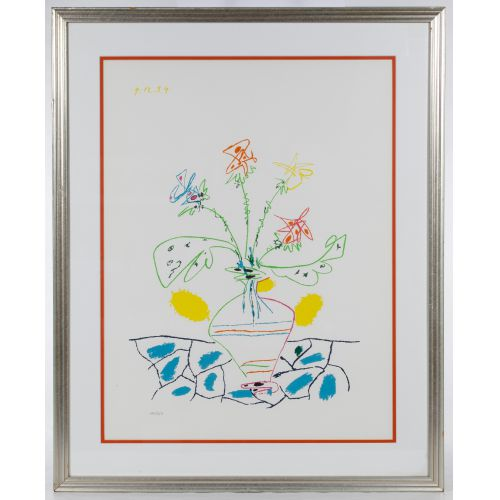 "Pablo Picasso (Spanish, 1881-1973) ""Vase with Flowers"" Lithograph"