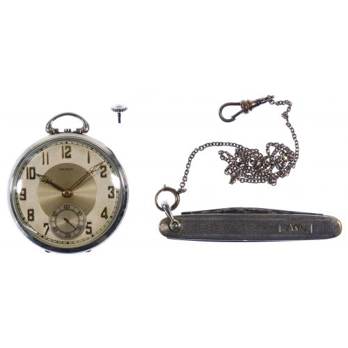 Waltham 14k White Gold Case Open Face Pocket Watch