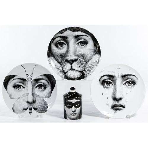 "Piero Fornasetti ""Tema E Variazioni"" Covered Jar and Plate Assortment"