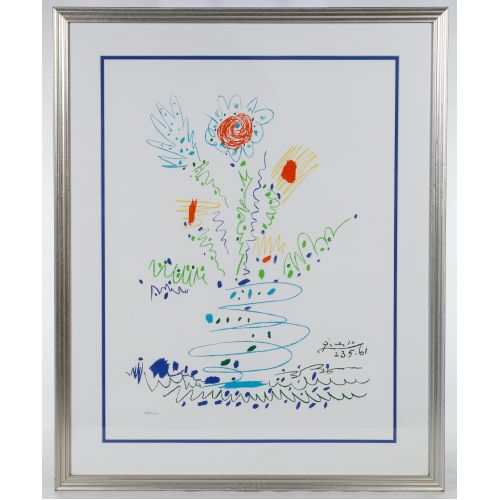"""Pablo Picasso (Spanish, 1881-1973) """"Flowers for UCLA"""" Lithograph"""
