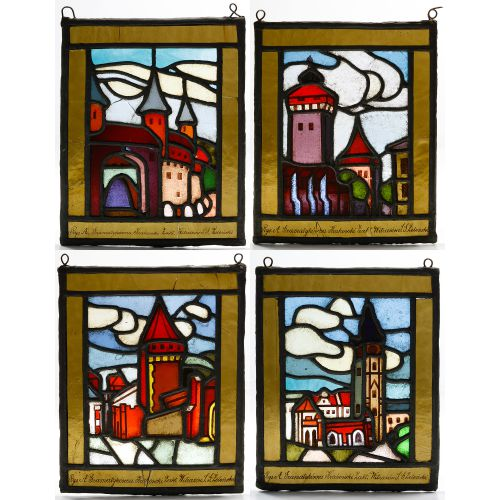 Polish Stained Glass Landscape Window Assortment