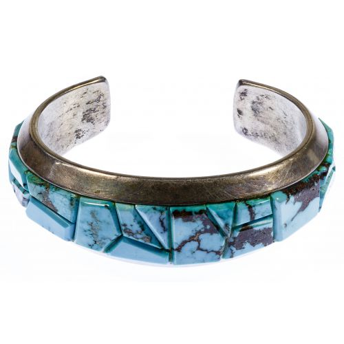 Michael NaNa Ping Sterling Silver and Turquoise Cuff Bracelet