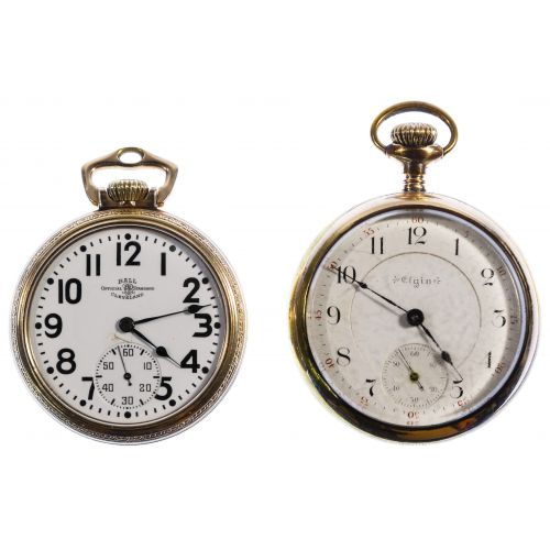 Elgin and Ball Open Face Pocket Watches
