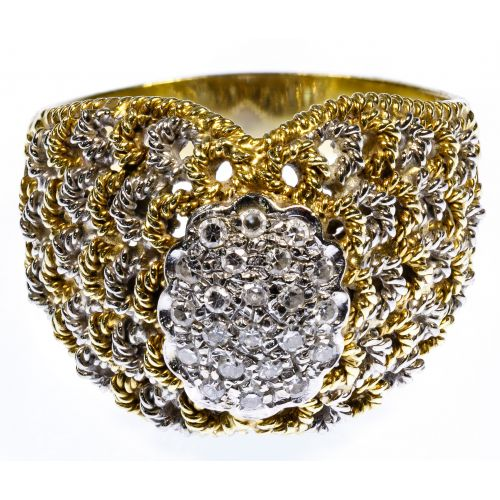 18k White and Yellow Gold and Diamond Ring