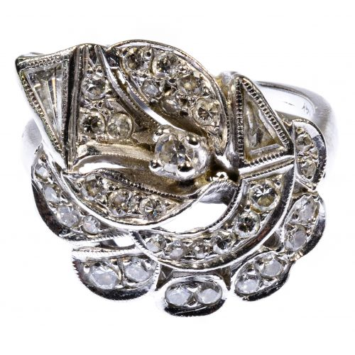 14k White Gold and Diamond Calla Lily Ring