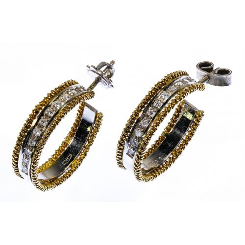 18k White and Yellow Gold and Diamond Pierced Earrings