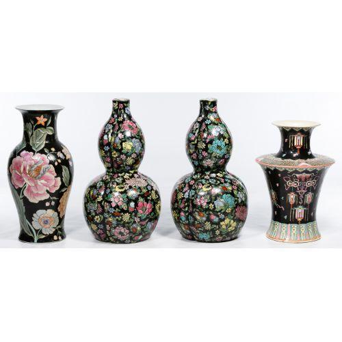 Asian Famille Noire Style Vase Assortment