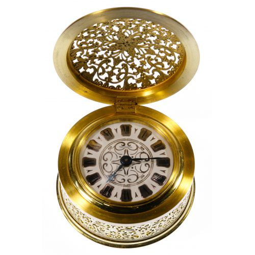 Le Coultre Brass Filigree Travel / Desk Clock