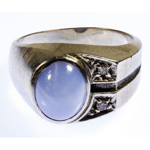 Platinum, Star Sapphire and Diamond Ring