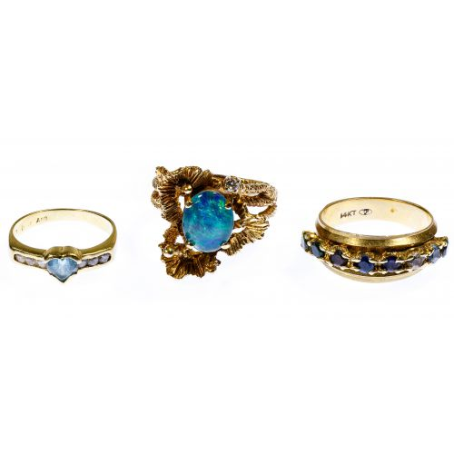 14k Gold and Gemstone Ring Assortment