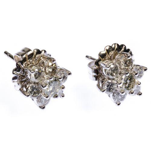 Platinum and Diamond Pierced Earrings