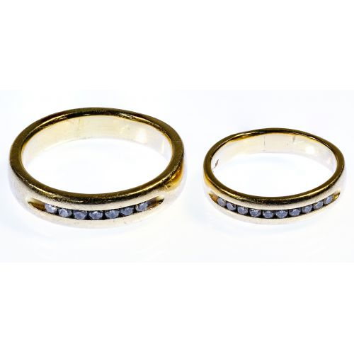 14k Gold and Diamond Band Rings