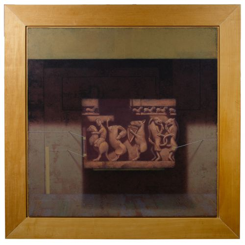 "David Snyder (American, 20th Century) ""Sarcophagus"" Oil on Board"