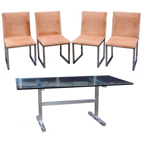 (Style of) Milo Baughman Table and Chairs