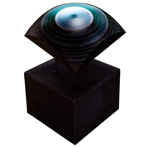 "Laszlo Lukacsi (Hungarian, b.1961) ""Sea Eye"" Laminated Glass Sculpture"