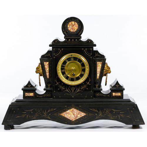 Eastlake Style Black Slate Mantel Clock