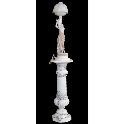 Neoclassical Style Carved Marble Lamp and Pedestal