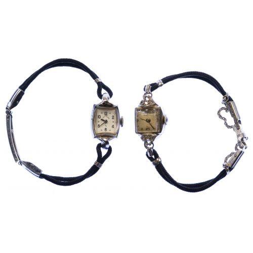14k White Gold Case Wrist Watches
